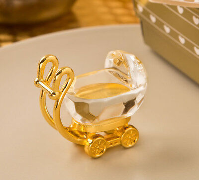 Choice Crystal Gold And Clear Crystal Baby Carriage Favour Ornament - Gift Boxed