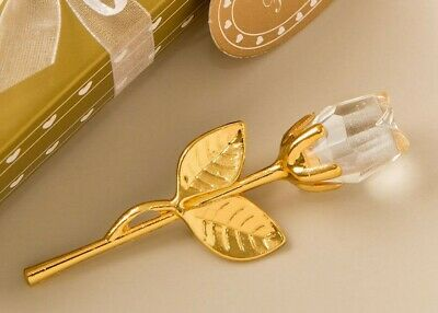 Choice Crystal Gold And Clear Crystal Long Stem Rose Ornament - Gift Boxed