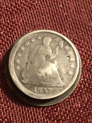 1857 Seated Liberty Half Dime And Seated Liberty Dime STUD Love Token