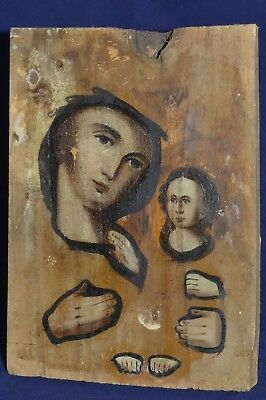 ORIGINAL Antique Icon 19th !!! Russian Orthodox Hand Painted Kazan Mother of God