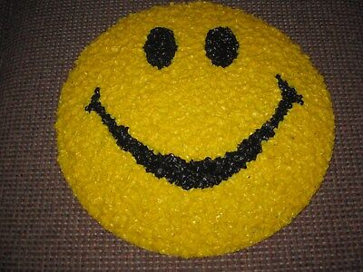 """Vintage 1970's Melted Plastic """"POPCORN"""" style SMILEY FACE wall plaque"""
