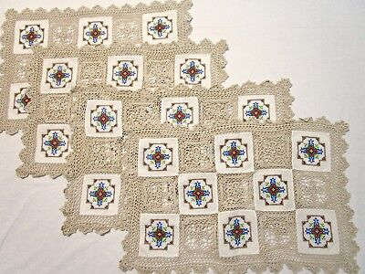 4 Vintage Table Placemats Doiley Embroidered Crochet Fabric Lace Ecru Set Runner