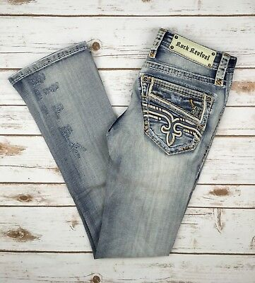 Womens Rock Revival Jeans Low Rise Faux Flap Pocket Cameo Bootcut Stretch Jean
