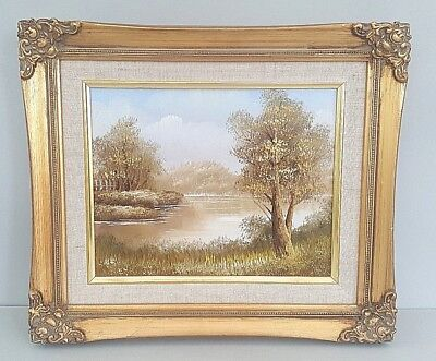 Vintage Landscape Oil Painting In Original Gold Wooden Frame~Very Good Condition