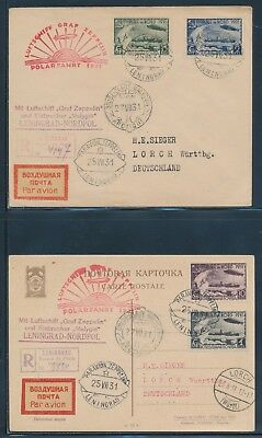 1931 Russia Zepp Cover Set Of 2 Polar Flight Leningrad - Malygrin C26-C29 Bu6054