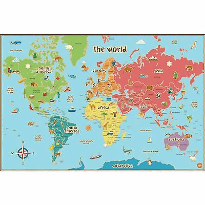 World Map Kids Wallpops Laminated Dry Erase With Pen 61Cm X 91.5Cm