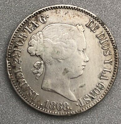 1868 Philippines Silver 50 Centimos VF-XF (Isabella II)