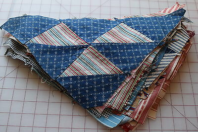 29 1890-1910 Hovering Hawks triangle quilt blocks, nice selection of fabrics!