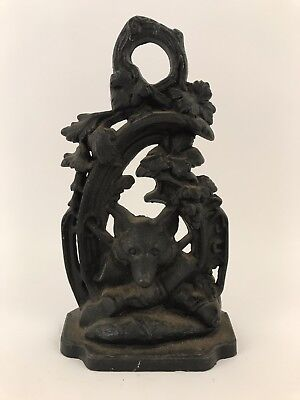 Antique~Vintage Cast Iron Doorstop~Fox & Hunting Motif~Dated 1949~Signed JZH~VGC