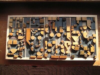 Old Letterpress Printing Wood Type All Punctuation Graphic Design Over 100 Piece