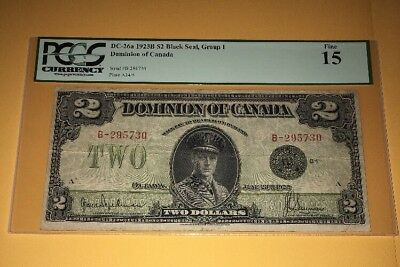 PCGS Currency Graded DC-26a 1923B $2 Black Seal, Group 1 Dominion Of Canada Fine