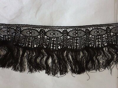 """VICTORIAN FRENCH BLACK GUIPURE LACE would be gorgeous on the hem of a dress 60"""""""