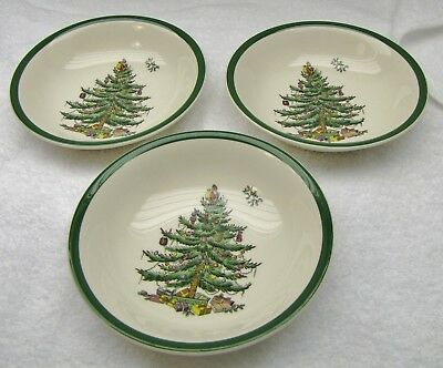 Spode Christmas Tree Cereal Bowls, Lot of 3 (S3324)
