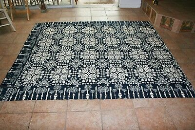 """ANTIQUE REVERSIBLE JACQUARD COVERLET 1831 SCIPIO NY Approx 79"""" x  91"""""""