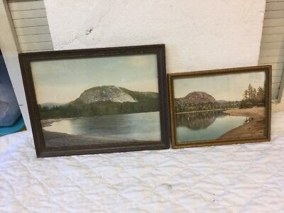 2 Antique Hand Colored Photos Echo Lake & Mountain North Conway NH J C Bicknell