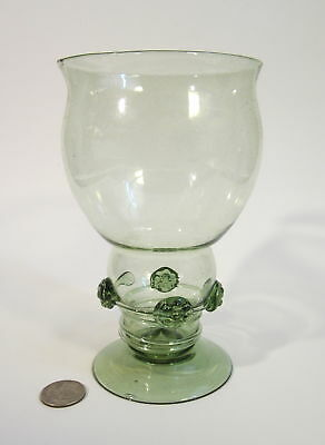 Vintage DUTCH GERMAN Hand Blown Glass Green Threaded Prunts ROEMER Wine Goblet