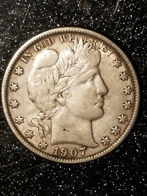 1907-O 50C New Orleans Mint Silver Barber Half Dollar Highly Detailed XF