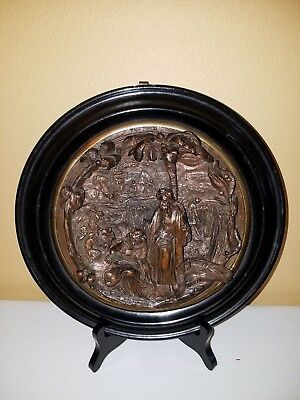 RARE 19TH CENTURY Antique ELECTROFORMED COPPER  Harvest Scene Wall Plaque