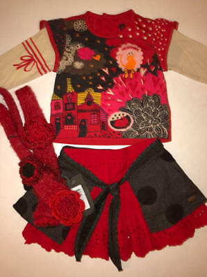NWT Catimini Baby Girl Set with Matching Scarf  Size: 6 Months