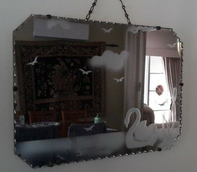 genuine Art deco mirror, acid etched pattern Swan and flying birds