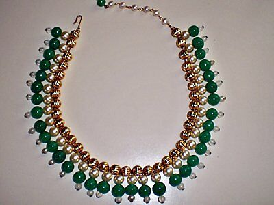 Ladies Vintage 1950's Green and Gold Tone Egyptian Inspired Collar Necklace