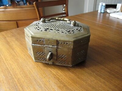 Antique Brass Pan Box Islamic Indian Betel Rare Collectible Hand Crafted Jali