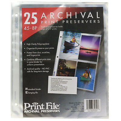 Print File 45-8P Archival Print Preservers - NEW pack of 25 pages for 3 ring