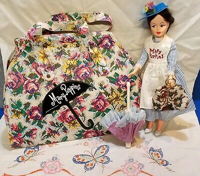 Vintage MARY POPPINS DOLL & CARPET BAG w/ Outfits Horsmen 1964 Walt Disney Movie