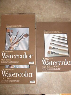 2 pads Strathmore Watercolor 400 12x18, 140Lbs, 12 Sheets + one 13x17 block