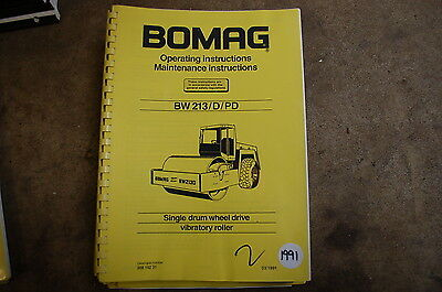 BOMAG BW 213 D Roller Compactor Owner Operator Operation Maintenance Manual book