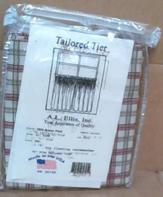 "NEW Ellis Curtain Bristol Collection Two-Tone Plaid 68""x30""T  Curtains, Red"