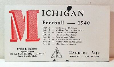 1940 University of Michigan football schedule ink blotter #2