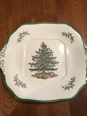 Vintage SPODE Christmas Tree Square Serving Plate Cookie  or Cake Plate
