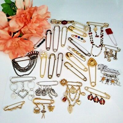 Large Vintage To Now Brooch Pin Lot Assorted SAFETY PIN Style Pins R2-4