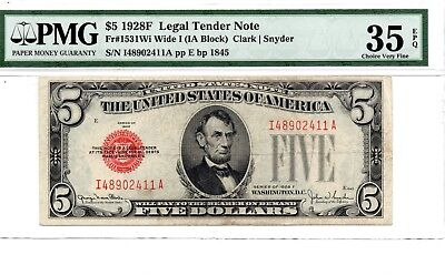 """$5 1928F """"Wide I"""" Red Seal Legal Tender Note PMG Choice Very Fine 35, EPQ"""