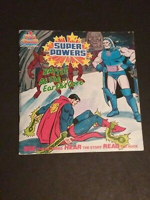 DC SUPER POWERS Book Battle at the Earths Core Superman 1985 with Record KENNER