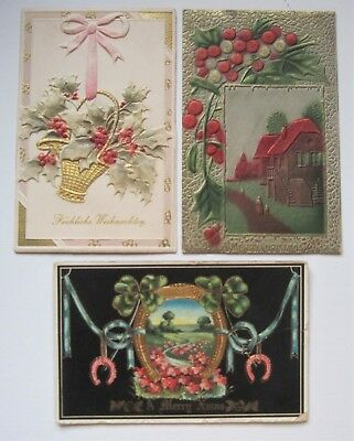 3 Antique Christmas Postcards, Embossed with gold gilt trim  - THREE