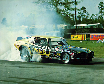 vtg Handout drag race card racing Dale Emery Camaro Chevy dragster top fuel