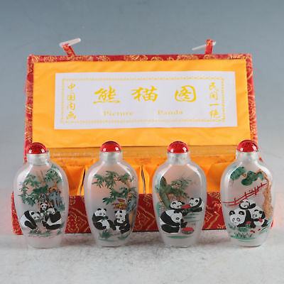 Exquisite Glass Hand-Painted Lovely Pandas Snuff Bottles 4 Pcs TBY05+c
