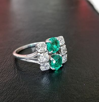 Antique Art Deco Estate Certified 2.88 ct Emerald Diamond Platinum Cocktail Ring