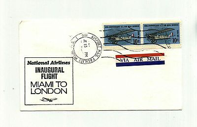 National Airlines Inaugural Flight Cover 1970 Miami London from RARE Collection
