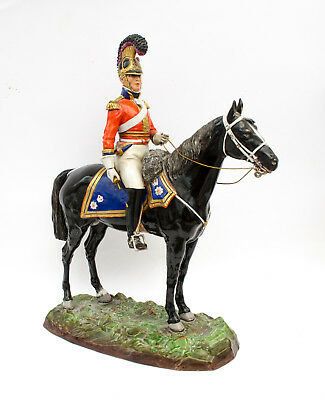 Large Rare Sitzendorf 1st Life Guards Order Porcelain Military Horse Figurine