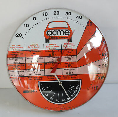 "12"" Round ACME BODY SHOP Thermometer with Humidity Sign gas"