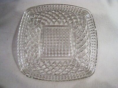 Vintage Clear Glass Serving Plate  9 inch square  1950s  Mint