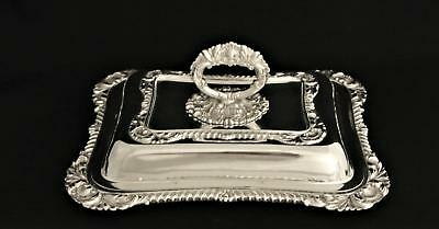 Vintage Silver Plate Entree Dish Serving Platter Tray Removable Handle