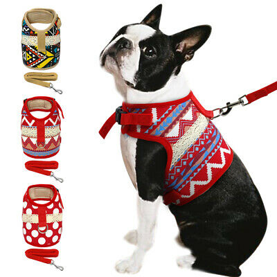 Cute Cotton Fabric Cat Dog Walking Harness and Leash Set Red Blue Brown XS S M