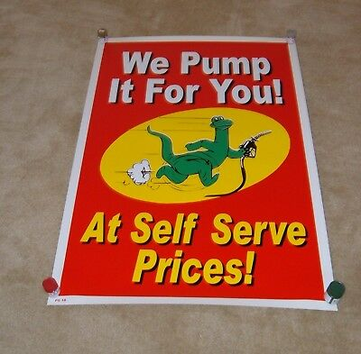 Sinclair Oil Gas Gasoline Dino Advertising Poster 1990's We Pump it For You! NOS