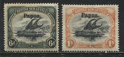 British New Guinea overprinted Papua 1906 6d and 1/ mint o.g.