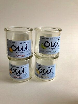 Oui Lot of 4 French yogurt Glass pots - Jars for Crafts  4 full sized jars