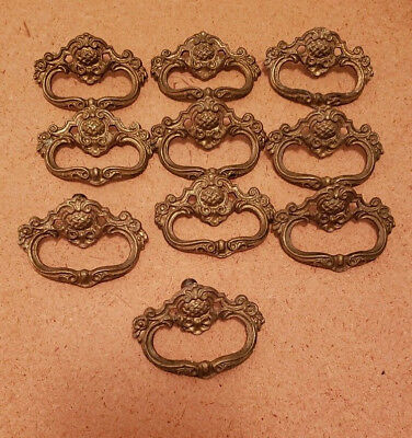 10 Matching Antique Solid Cast Brass Drawer Pulls Handles (N106)